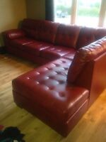 Red bonded leather sectional