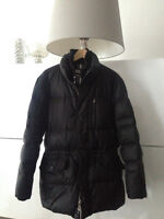 Barneys New York down jacket with fur trimmed removable hood