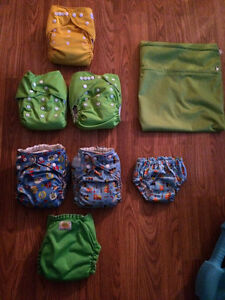 Mixed cloth diaper lot and matching wetbag