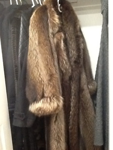 Women's size 10 full length Raccoon fur coat
