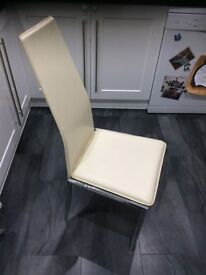 6 cream leather look dining chairs
