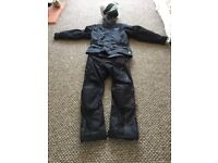 Men's large textile motor cycle jacket and trousers complete with large helmet
