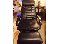 Black leather chair w/massage recline