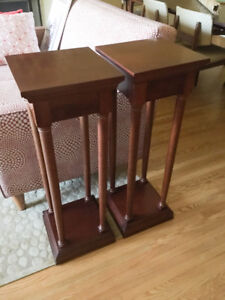 Pair of Bombay Company Plant / Speaker Stands - solid mahogony