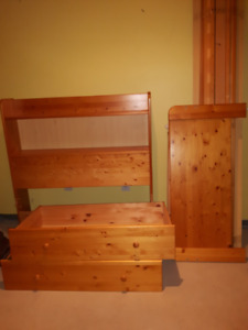 Twin Mates Bed with Bookcase Headboard and Armoire