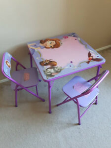 3 Piece Kids Folding Table & Chair Set, Sofia the first