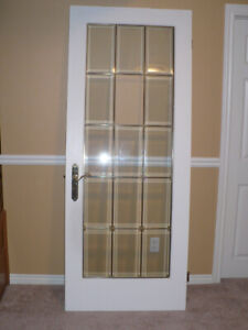 Beveled leaded glass french door