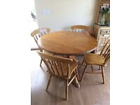 Pine round country style table and chairs