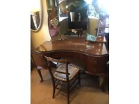 Beautiful Vintage Kidney Shaped Dressing Table with glass top + Mirror - CAN DELIVER