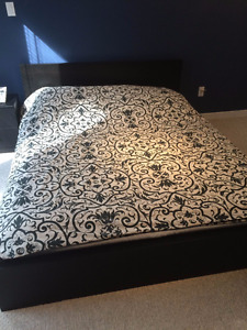 Black Double Bed with Mattress in excellent condition!
