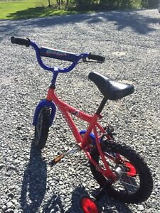 Childs bike with training wheels