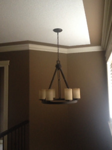 6 -Light brushed bronze chandelier