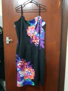 Black floral cocktail dress