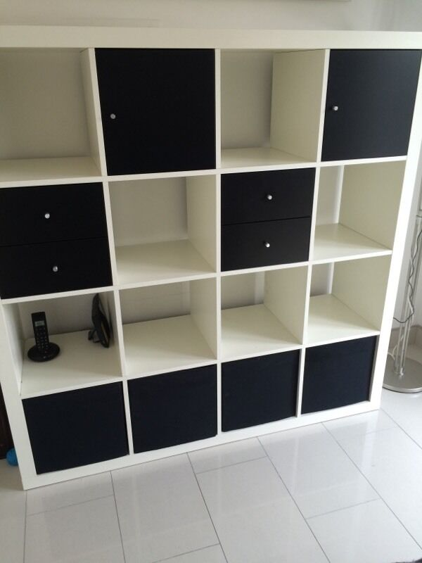 Cube storage unit / shelf / bookcase / white ikea 4 x 4  in Swinton