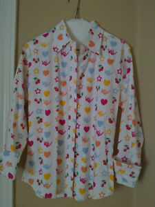 Women's white printed collar dress shirt buttondown Small NEW London Ontario image 1