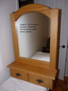 Miroir en chêne massif - avec tiroir horizontal - hall entrée