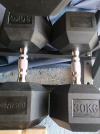 Hex Dumbells, large range of weights between 10kg and 30kg