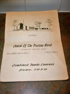 VINTAGE PRECIOUS BLOOD CHURCH FUNDS CANVAS JUNE 1956