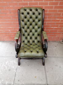 A Lime Green Leather Chesterfield Slipper Chair