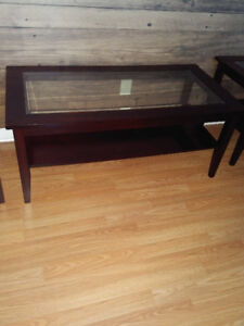 Dark redwood and glass coffee and end tables