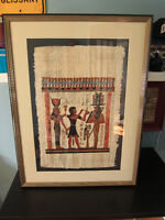 Egyptian Papyrus painting professionally matted and framed