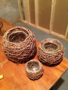 Wicker Candle Holders