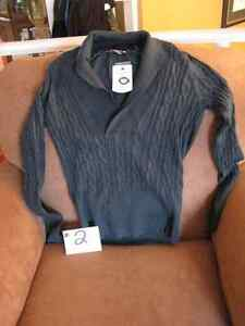 Hunter Green Fitted V-Neck Cowl Collar Sweater - NEW