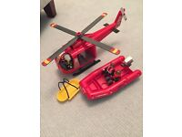 BRAND NEW PLAYMOBIL HELICOPTER AND BOAT RESCUE SET