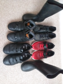 FIVE PAIRS OF BOYS CLARKS SHOE, TRAINERS, FOOTBALL BOOTS 13 & 13.5F