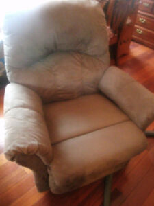 Green suede recliner rocking chair