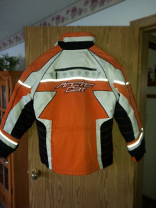 XL Womens Arctic Cat Orange and White Snowmobile jacket
