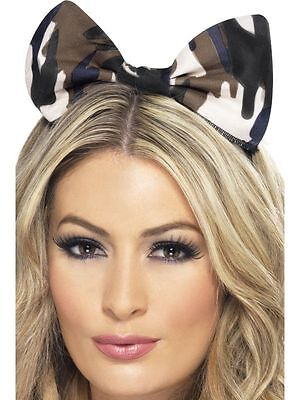 Camouflage Bow Headband Camo Green Army Adult Womens Size Halloween Head Band](Army Band Halloween)