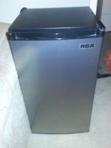 Silver / black mini fridge