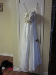 White and Gold Sequenced Floor Length Prom Dress