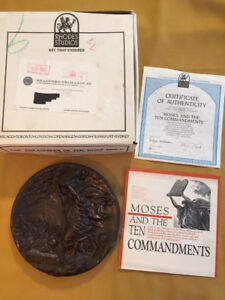 Moses and the Ten Commandments fused bronze collector plate