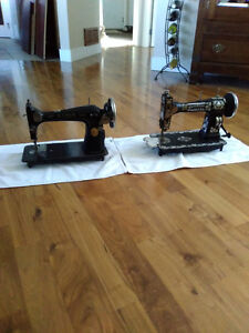 Two Antique Sewing Machine Heads
