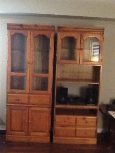 Best offer- Must Go! Solid Pine Hutch/Entertainment Unit