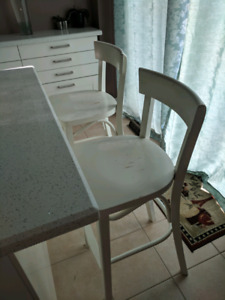 Great deal for  2 solid white Ikea bar chairs, 2 for $50