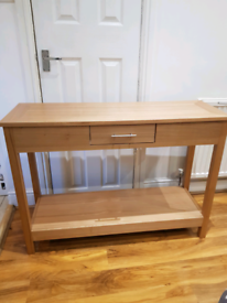 Oak veneer console table
