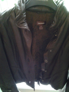 Danier lg chocolate brown leather jacket,  never worn