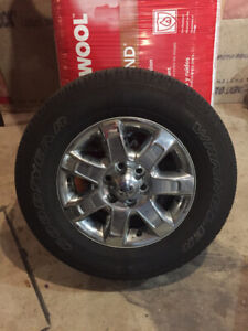 """4 Tires on 6 bolt 18"""" Ford Chrome rims. Almost new rubber"""
