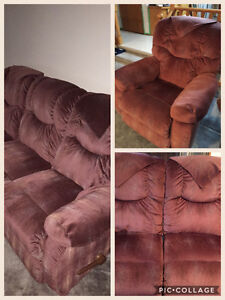 Reclining couch, love seat and chair