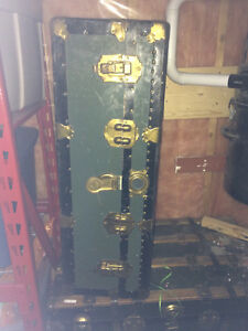 Steamer Truck with Leather Handles Great Shape