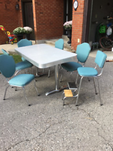 1950's kitchen table with five chairs and stool