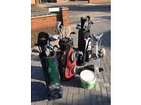 Golf bags,clubs, trolley and balls.