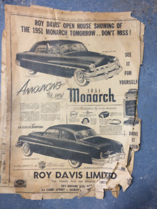 1951 Ford Monarch newspaper ad from Nov 1950