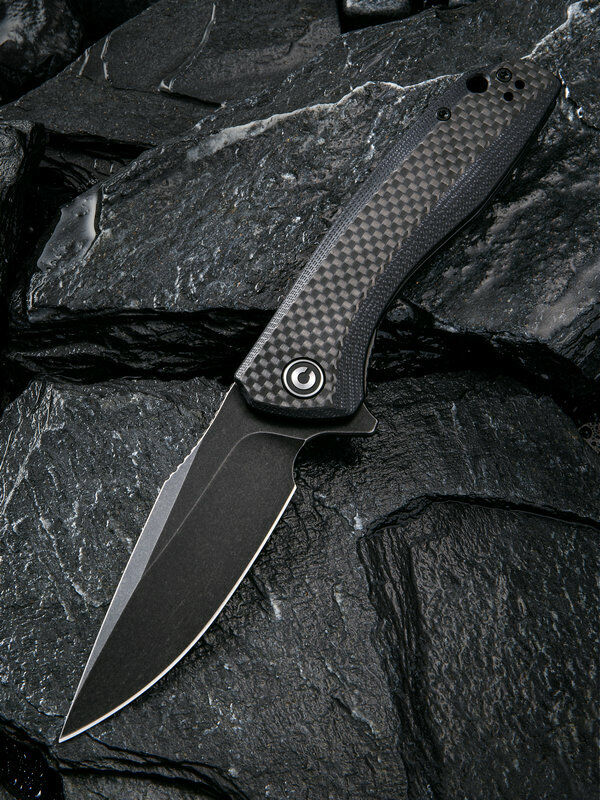 Civivi Baklash Black G10/Carbon Fiber Folding 9Cr18MoV Steel Pocket Knife 801I