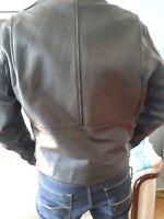 Black Leather Cafe Biker Jacket