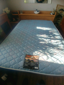 Queen size headboard & frame & mattress & one ebd table