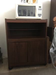 Microwave Wooden Stand with Shelf Space and Cupboards